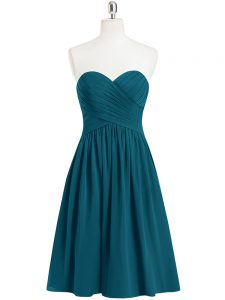 Teal Zipper Hoco Dress Pleated Sleeveless Knee Length