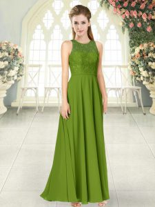 Spectacular Olive Green Homecoming Dresses Prom and Party with Lace Scoop Sleeveless Backless