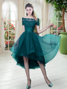 Fabulous Peacock Green A-line Tulle Off The Shoulder Short Sleeves Lace High Low Lace Up Hoco Dress