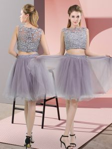 Grey Two Pieces Tulle High-neck Sleeveless Beading and Lace Zipper Homecoming Party Dress