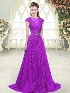 Purple Tulle Zipper Junior Homecoming Dress Cap Sleeves Sweep Train Lace and Appliques and Pick Ups
