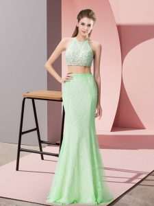 Apple Green Halter Top Neckline Beading and Lace Homecoming Dresses Sleeveless Backless