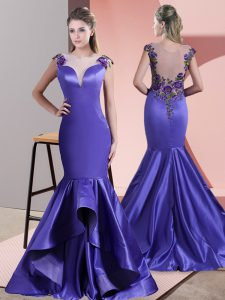 Decent Purple Sleeveless Satin Sweep Train Side Zipper Homecoming Dress for Prom and Party and Military Ball