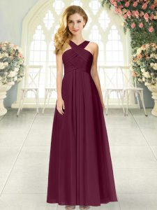 Burgundy Chiffon Zipper Straps Sleeveless Floor Length Ruching