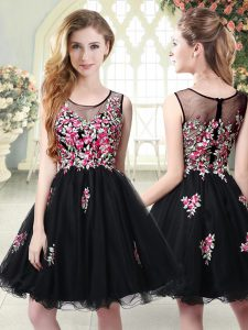 Scoop Sleeveless Junior Homecoming Dress Mini Length Embroidery Black Tulle