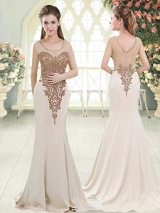 Most Popular Beading Homecoming Party Dress White Side Zipper Sleeveless Sweep Train
