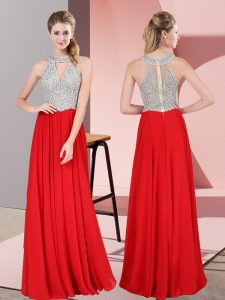 Sleeveless Zipper Floor Length Beading and Lace Homecoming Dress Online