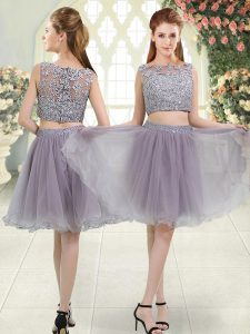 Organza Sleeveless Knee Length Junior Homecoming Dress and Beading and Lace