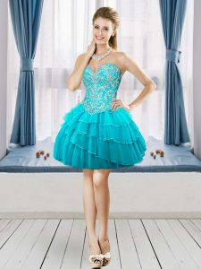 Stylish Aqua Blue Sweetheart Lace Up Beading and Ruffled Layers Homecoming Dresses Sleeveless