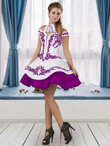 Off The Shoulder Sleeveless Lace Up Hoco Dress White And Purple Satin Embroidery