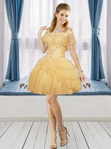 Flirting Short Sleeves Mini Length Beading Zipper Homecoming Dress with Gold