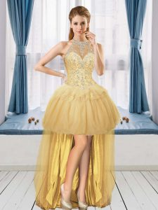 Fantastic Sleeveless Tulle High Low Lace Up Homecoming Dress in Gold with Beading