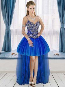 Low Price Spaghetti Straps Sleeveless Junior Homecoming Dress High Low Beading Royal Blue Tulle