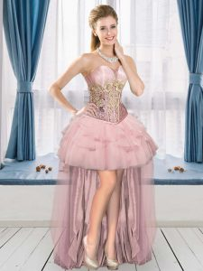 Fantastic Pink Sweetheart Neckline Ruffles Homecoming Dress Sleeveless Lace Up