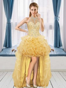 Designer Gold Tulle Lace Up Halter Top Sleeveless High Low Homecoming Dress Beading and Ruffles