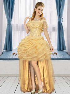 Gold Off The Shoulder Neckline Beading and Ruffled Layers Homecoming Dress Online Short Sleeves Lace Up