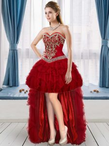 Custom Designed Wine Red Organza Lace Up Sweetheart Sleeveless High Low Homecoming Gowns Beading and Embroidery and Ruffles