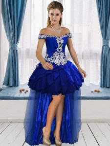 Unique Royal Blue A-line Beading and Ruffles Junior Homecoming Dress Lace Up Organza Sleeveless High Low