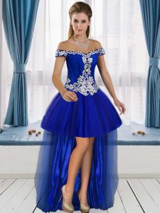 Edgy A-line Royal Blue Off The Shoulder Tulle Sleeveless High Low Lace Up