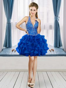 Royal Blue Ball Gowns V-neck Sleeveless Organza Mini Length Lace Up Beading and Ruffles Junior Homecoming Dress