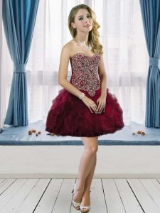 Nice Burgundy Lace Up Sweetheart Beading and Ruffles Homecoming Party Dress Tulle Sleeveless