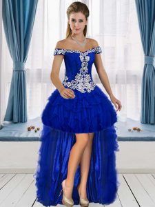 Ideal Royal Blue Lace Up Off The Shoulder Beading and Ruffles Homecoming Dress Tulle Sleeveless
