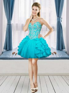 Noble Sleeveless Organza Mini Length Lace Up Junior Homecoming Dress in Aqua Blue with Beading and Embroidery and Ruffles