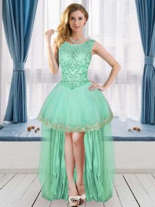 Apple Green Tulle Lace Up Hoco Dress Sleeveless High Low Beading and Appliques