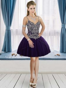 Beauteous Purple Lace Up V-neck Beading Homecoming Dress Online Tulle Sleeveless