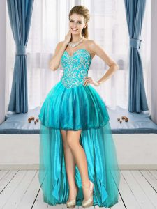 Aqua Blue Tulle Lace Up Prom Homecoming Dress Sleeveless High Low Beading