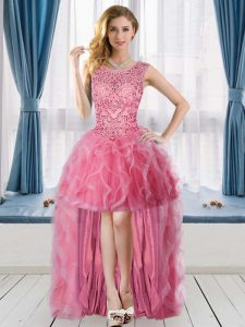 Dazzling Sleeveless Tulle High Low Lace Up Homecoming Dress in Rose Pink with Beading and Ruffles