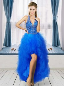 High Class Blue V-neck Neckline Beading and Ruffles Junior Homecoming Dress Sleeveless Lace Up
