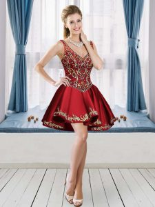 Wine Red A-line V-neck Sleeveless Satin Mini Length Lace Up Beading and Embroidery Homecoming Party Dress