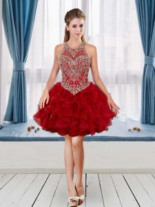 Custom Design Red Halter Top Neckline Beading and Ruffles Junior Homecoming Dress Sleeveless
