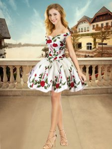 Embroidery Junior Homecoming Dress White Lace Up Sleeveless Mini Length