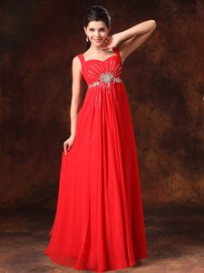 Coral Red Empire Beaded Straps Floor-length 2013 Vintage Homecoming Dresses