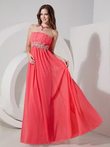 Long Homecoming Dance Dresses in Watermelon Red with Ruches and Beaded Belt