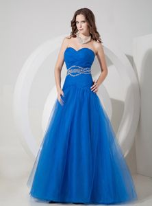 2013 Summer Blue A-line Sweetheart Ruched and Beaded Junior Homecoming Dresses