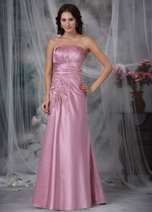 Column Strapless Floor-length Appliqued Inexpensive Homecoming Dresses with Ruches