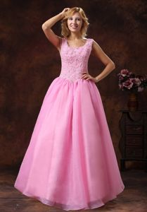 Rose Pink Wide Scoop Lace-up Princess Cute Homecoming Dresses with Beads