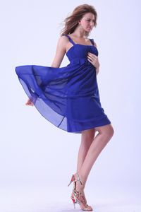 Ruched Straps Mini-length Chiffon Homecoming Princess Dresses in Royal Blue