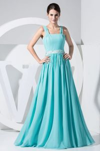 Baby Blue Straps Floor-length Pleated Homecoming Dresses in Lanarkshire