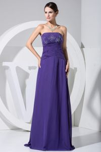Beading and Ruches Decorated Bodice Floor-length Purple Evening Homecoming Dress