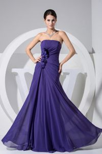 Floor-length Strapless Dark Purple Homecoming Dresses For Juniors with Flowers