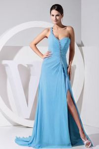 Brush Train Aqua Blue 2013 High Slit One Shoulder Bead Vintage Homecoming Dress