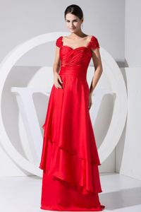 Red Scoop Straps Ruched Floor-length Designer Homecoming Dresses with Ruffles
