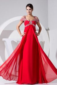 Floor-length Beaded Cap Sleeves Floor-length Red Junior Homecoming Dresses