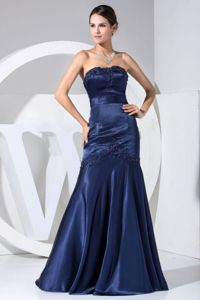 Navy Blue Floor-length Strapless Homecoming Dresses For Juniors with Appliques