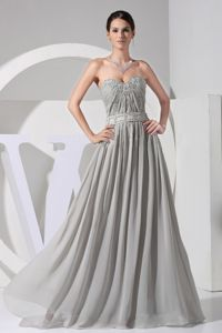 Appliques With Beading Decorated Bodice Grey Floor-length Cute Homecoming Dresses