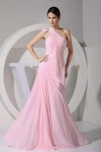 Summer Floor-length One Shoulder Pink Floor-length Sparkly Homecoming Dresses